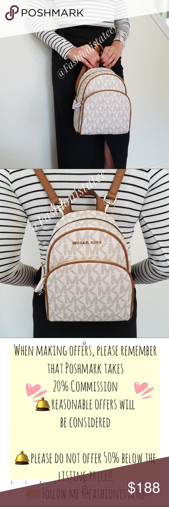 42f149c2d836 NWT MICHAEL KORS ABBEY VANILLA BACKPACK SMALL New With Tag 100% Authentic  This list is