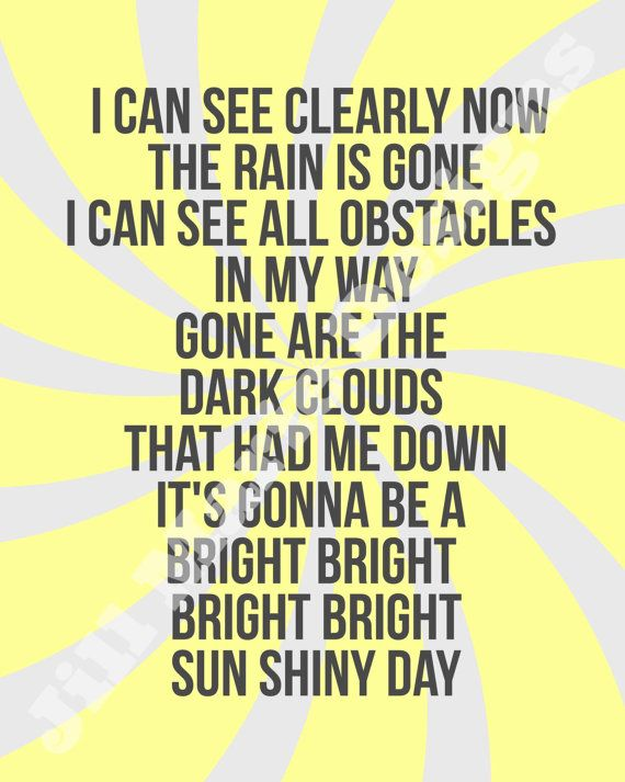 I Can See Now The Rain Is Gone Lyrics