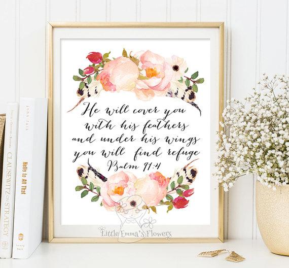 Psalm 91 4 Scripture Art He Will Cover You Nursery Bible Verse Wall