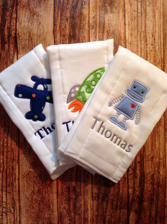Set Of 3 Personalized Burp Cloths Diaper Cloths Baby