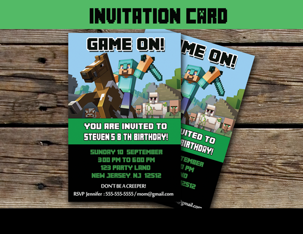 This personalized birthday card is perfect for a minecraft themed explore minecraft birthday invitations and more stopboris Gallery