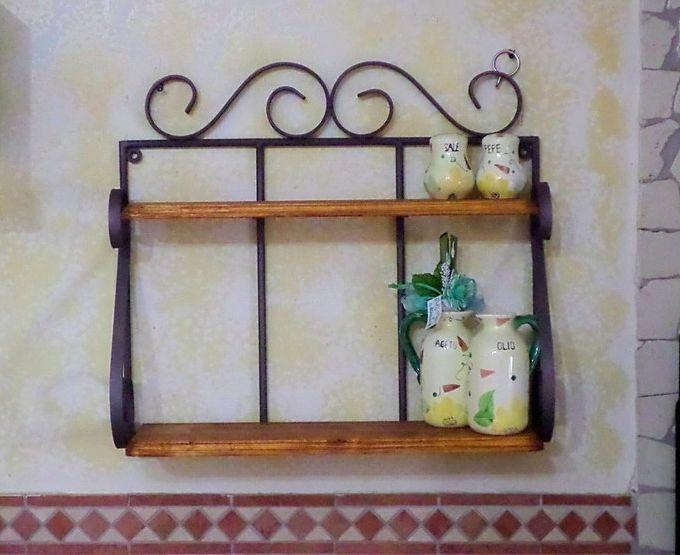Mensola fioriera portaspezie in ferro battuto legno rustica cucina ...