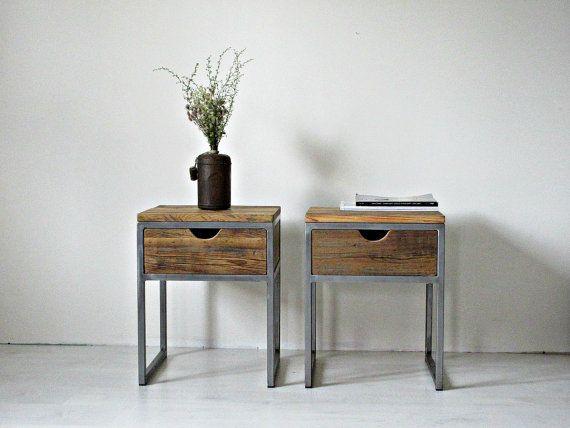 Industrial Bedside Table, Wood and Steel Nightstand: Rustic ...