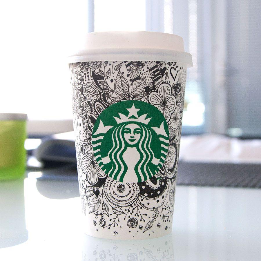 Starbucks coffee cup art by Jane Kim