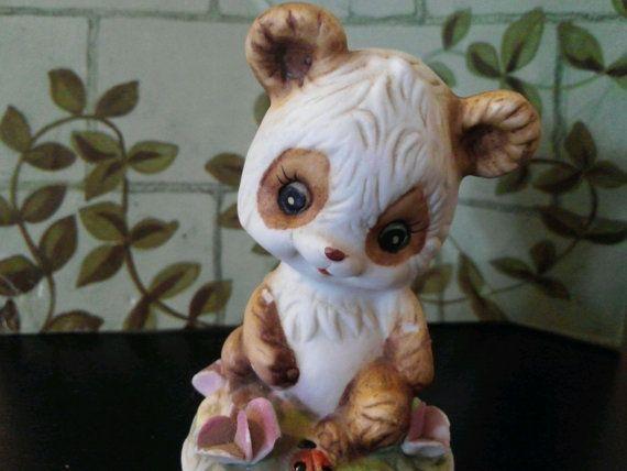 Beary Adorable Porcelain Garden Panda Figurine by EmilysCraftys, $8.00