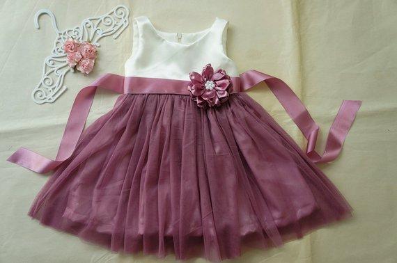 3a0c9e82f889 Ivory and dusty rose flower girl dress Rustic girl dress Tulle flower girl  dress Toddler girls dress