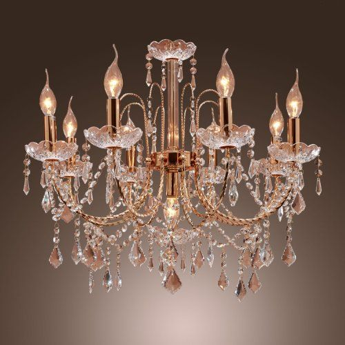 Lightinthebox elegant candle style crystal chandelier with 9 lights pendent light ceiling light fixture for living