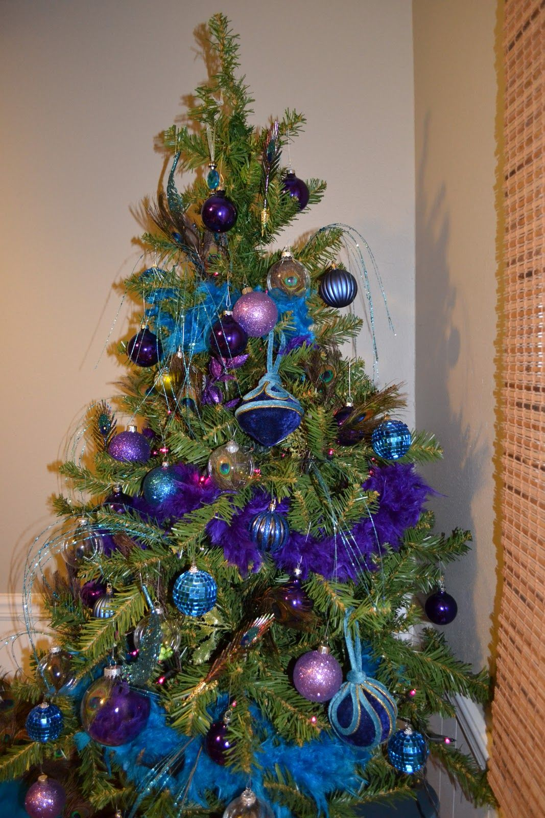 Blue and purple christmas tree decorations -