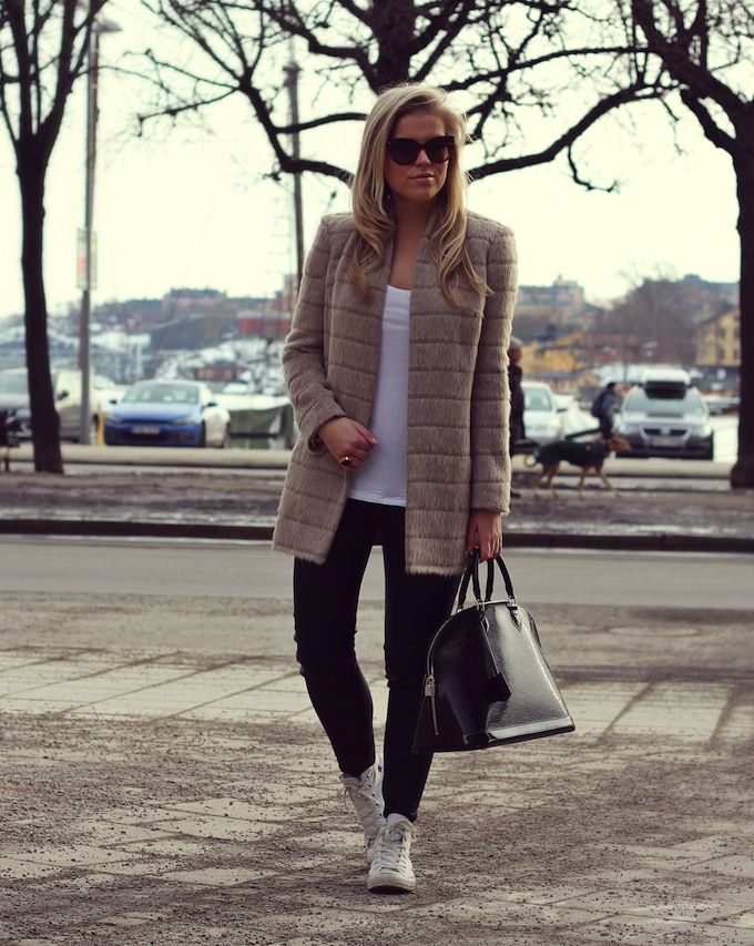 Beige, white and black