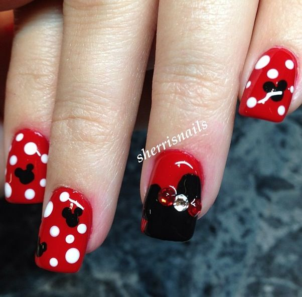 Cute Minnie mouse nails | nailing | Pinterest | Diseños de uñas, Uña ...