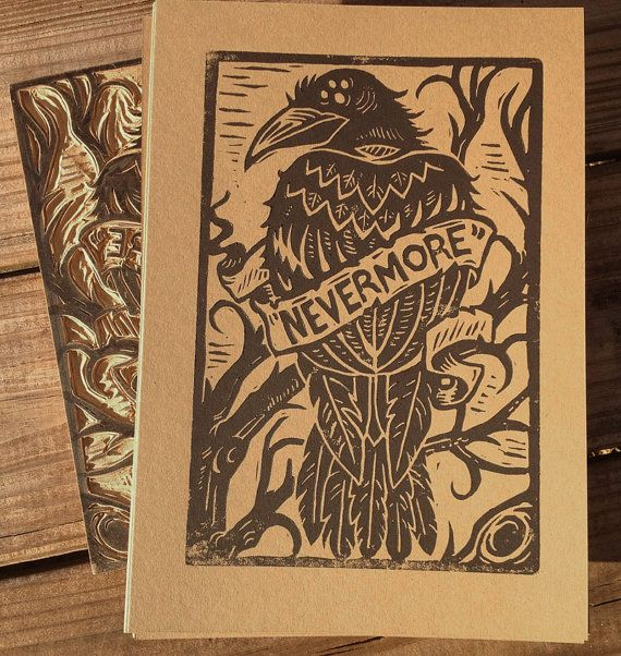 """Nevermore""   Alternative Block Print by strawcastle on Etsy, $7.99"