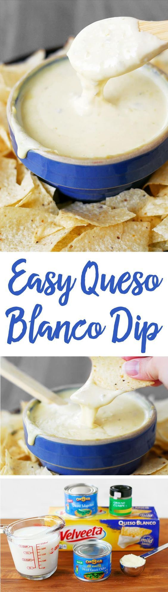 This Easy Queso Blanco Recipe is a quick way to make white cheese dip using Velveeta and peppers. Serve with chips as a taco side dish or a party appetizer! #tacosidedishes