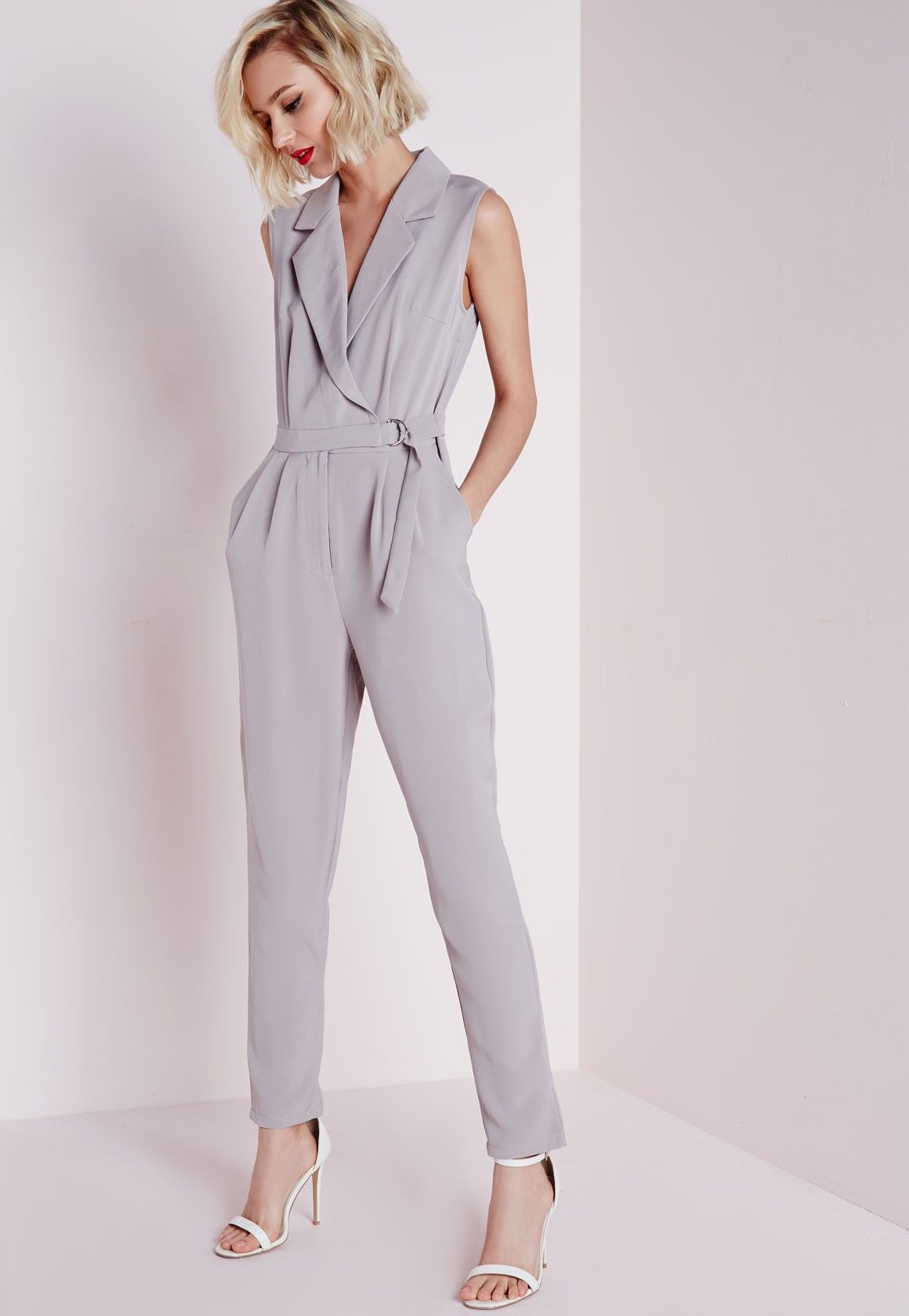 great look exclusive shoes temperament shoes Missguided - Petite D-Ring Sleeveless Jumpsuit Grey | Free ...