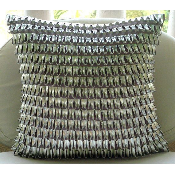 Silver 3d Metallic Leather 20 X20 Faux Leather Pillowcase Metallic Ecstazy Leather Throw Pillows Purple Pillow Cases Leather Pillow