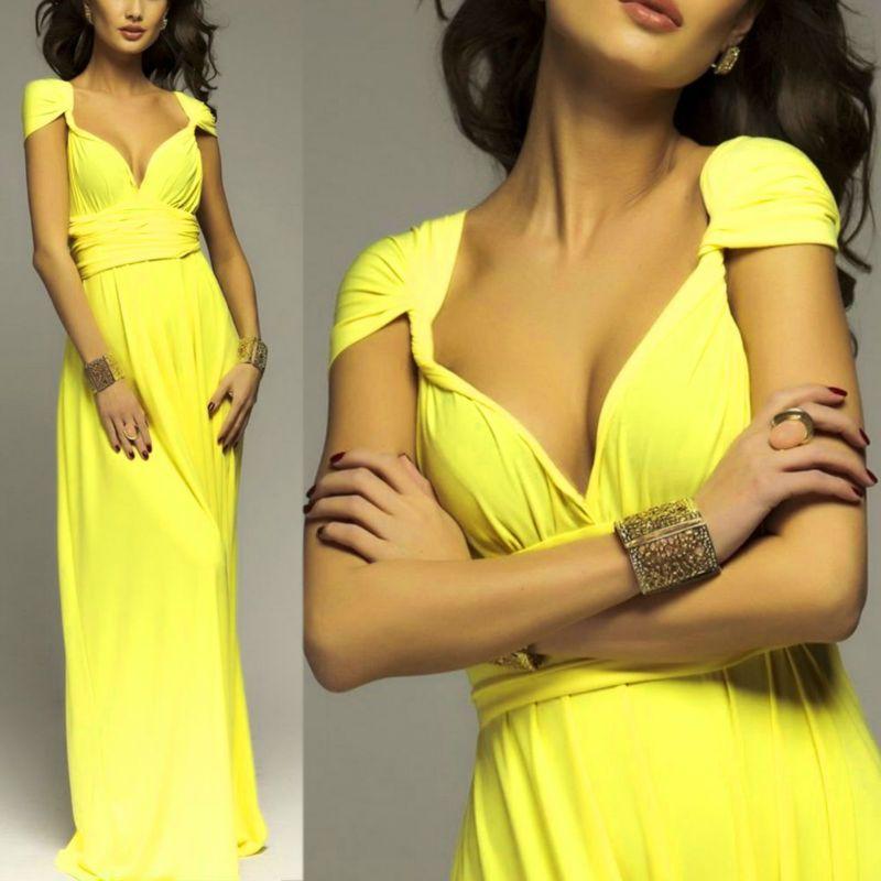 Red v-neck romper maxi dress yellow