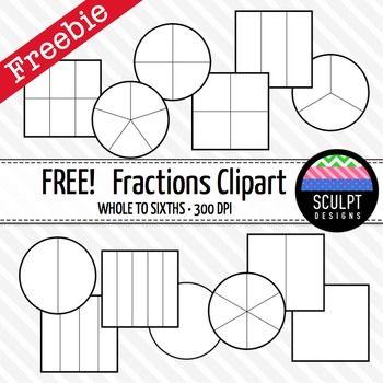 fractions clip art free black amp white outlines