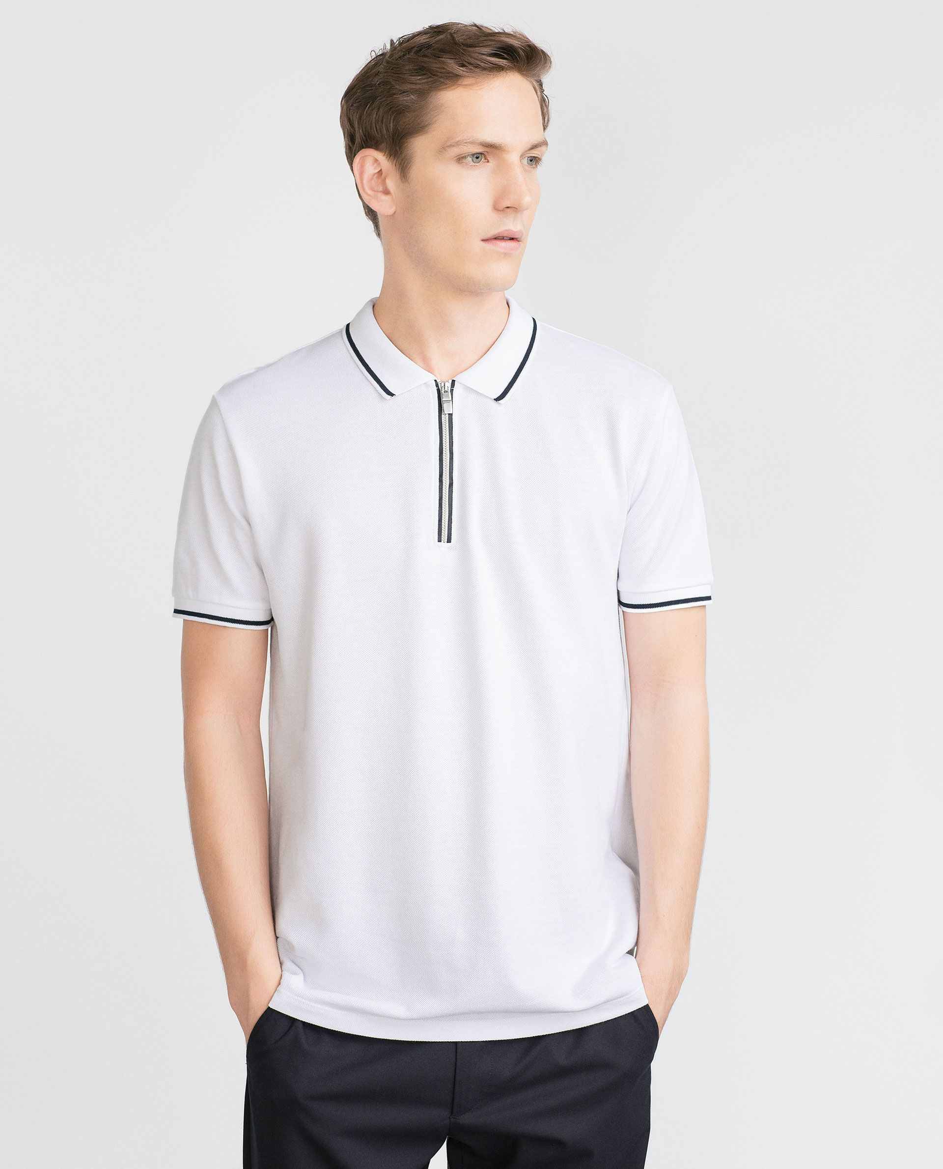 Zara black t shirt india - Polo Shirt With Zip Polo Shirts Man Zara Belgium