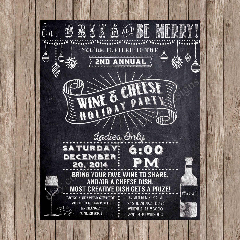 Chalkboard Holiday Wine Party Invitation Printable - Holiday Wine ...