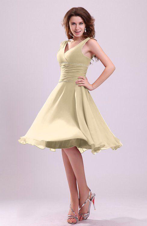 Champagne Informal Zipper Chiffon Knee Length Sequin Bridesmaid Dresses