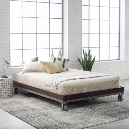 Belham Living Merced Metal Platform Cart Bed Bed Frame Industrial Bed Frame Platform Bed Frame