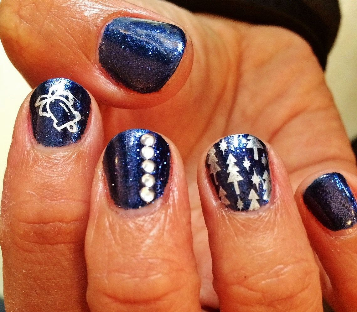 Navy blue Shellac rock star nails with diamantes and silver Pueen ...