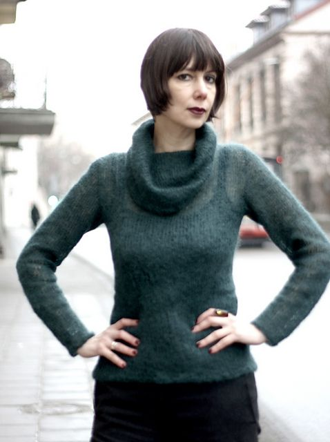 Mohair sweater with a large collar #seamless #kuduja
