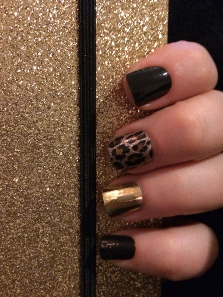 Jamberry nails manicure Jamicure black gold metallic leopard easy fast