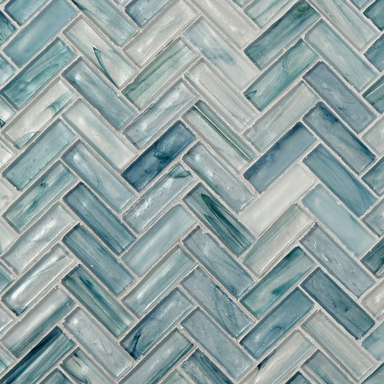 Neptune Herringbone Matte Glass Mosaic Blue Glass Tile Mosaic
