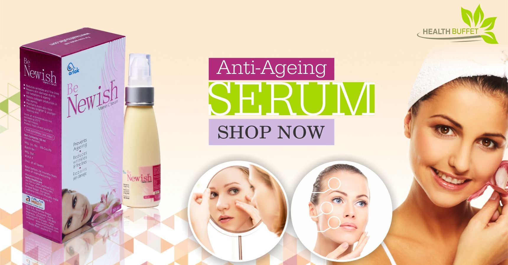 Look young with the best anti ageing serum available at Healthbuffet.  To buy visit - https://goo.gl/UKTCZV  #skincare #antiageingserums #beautyproducts