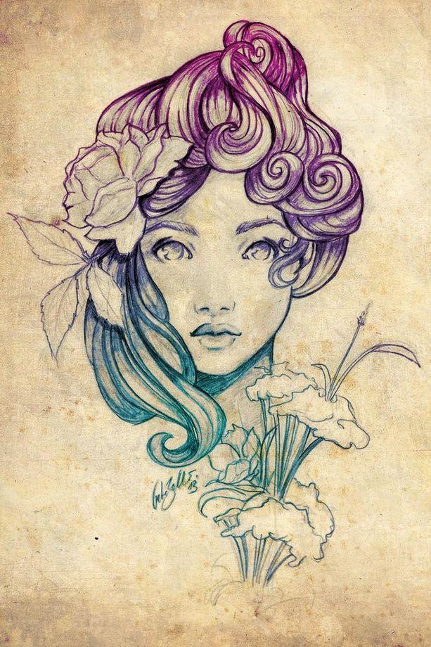 Art Nouveau Tattoo Nouveau: Art Nouveau Portrait 1, An Art Print By Peter Brockhammer