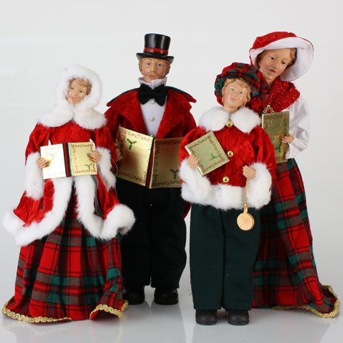 Victorian Carolers Shop Collectibles Online Daily: Set Of 4 Red & Green Victorian Era Caroling Family