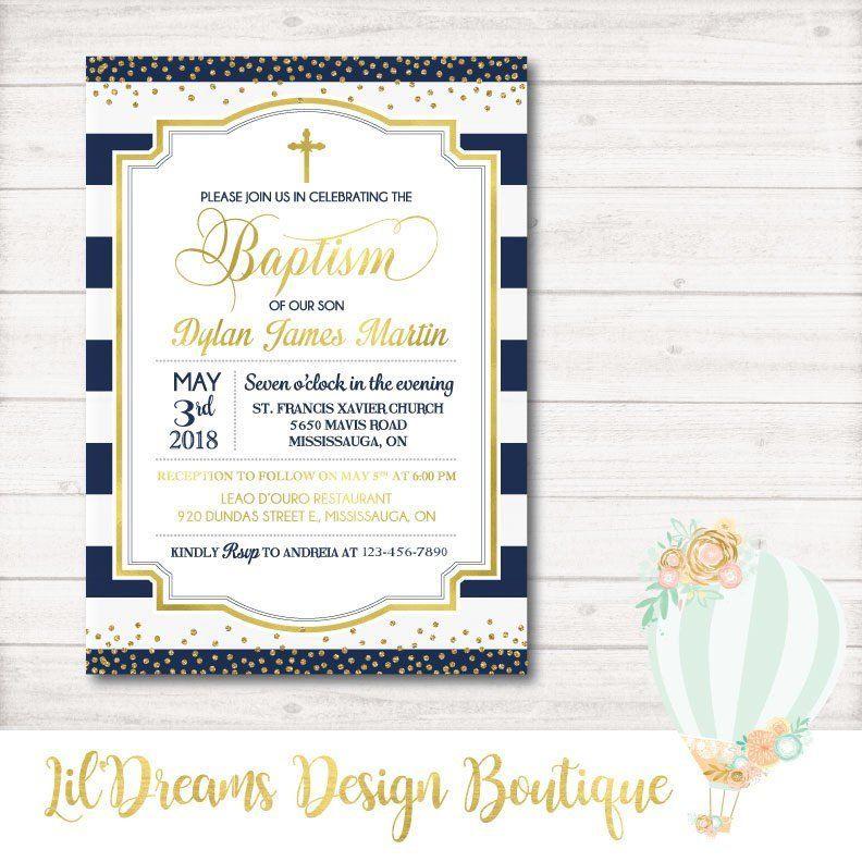 Baptism invitation gold foil invitation blue