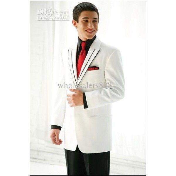 Custom Made White Groom Tuxedos Peak Lapel Groomsmen Men Wedding ...