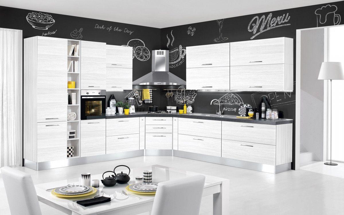 Cucina Componibile Effetto Bianco Larice Stella Classica 4r5n