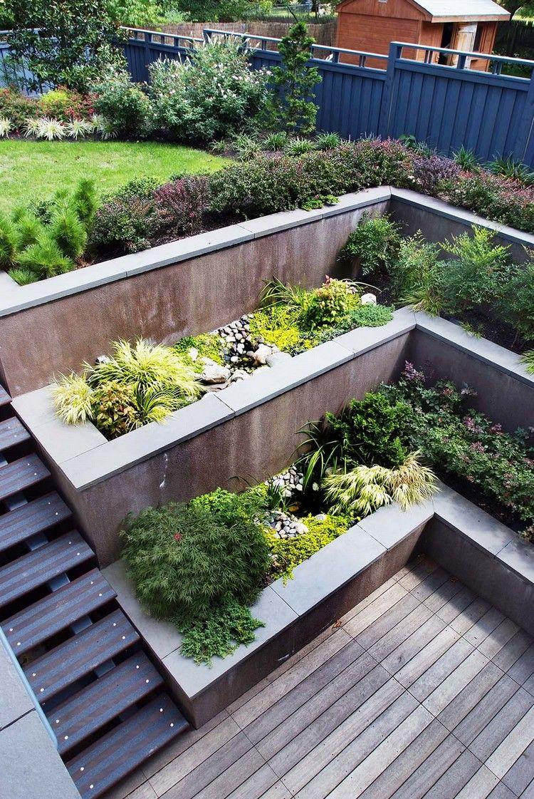 treppen garten ideen hanglage kleine außentreppe hochbeete #garden