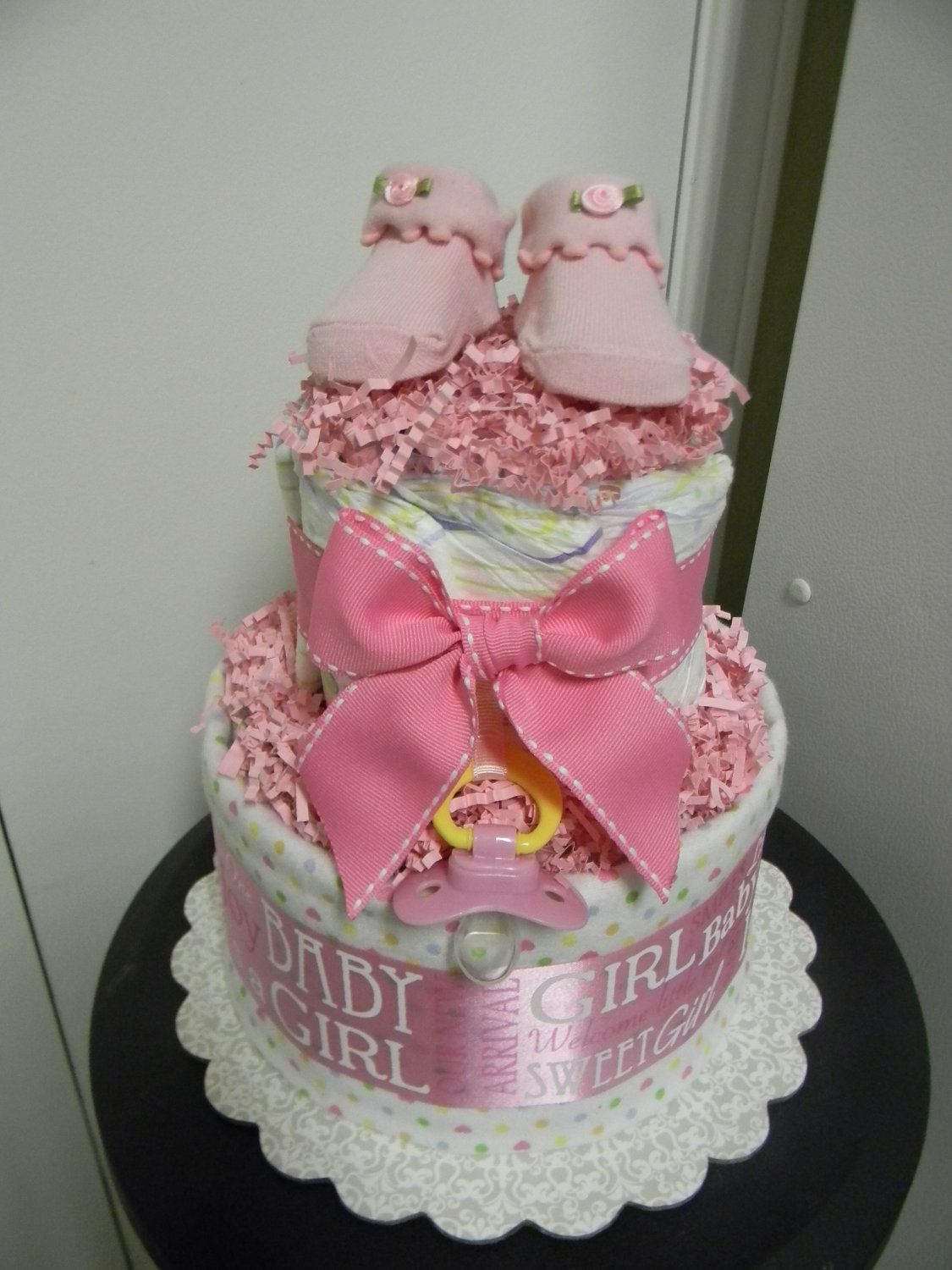 baby shower diaper cakes for girls | baby girl loaded 2 tier diaper