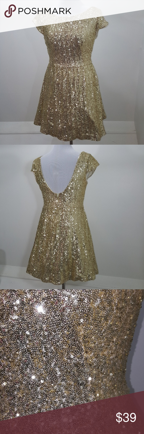 B darlin gold sequin crewscoop holiday dress my posh picks