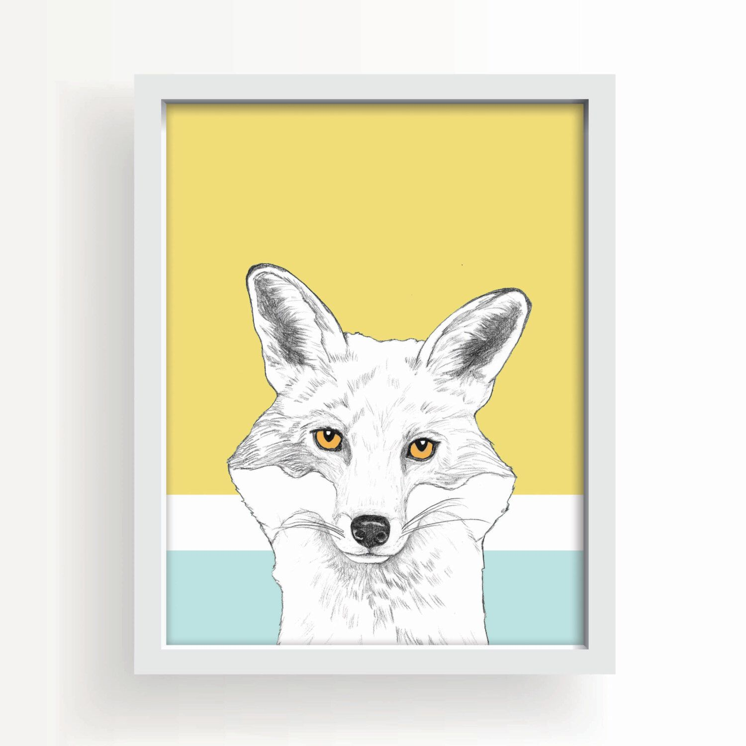 fox art print, wall art, woodland animals, fox wall art, large art ...