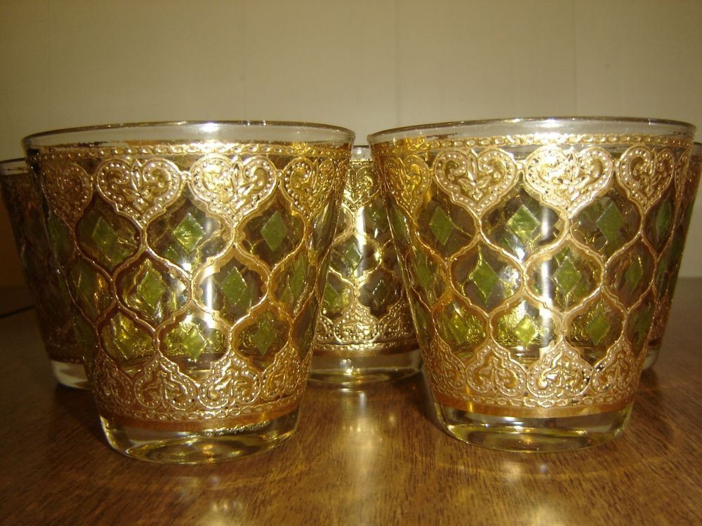 d3a33631ab00 Culver Gold Green Diamond Old Fashioned Cocktail Glasses Flared Valencia   Set 5  MidCenturyModern