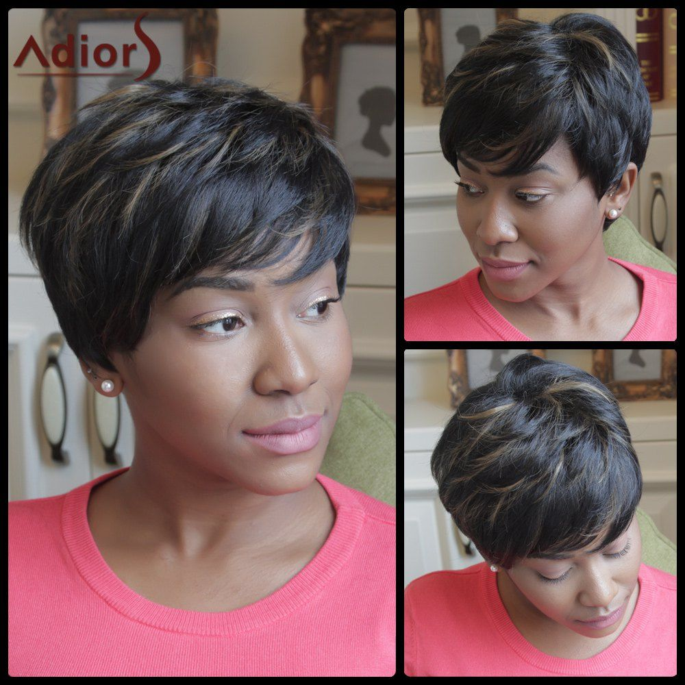 Adiors shaggy short highlight side bang synthetic wig shoes