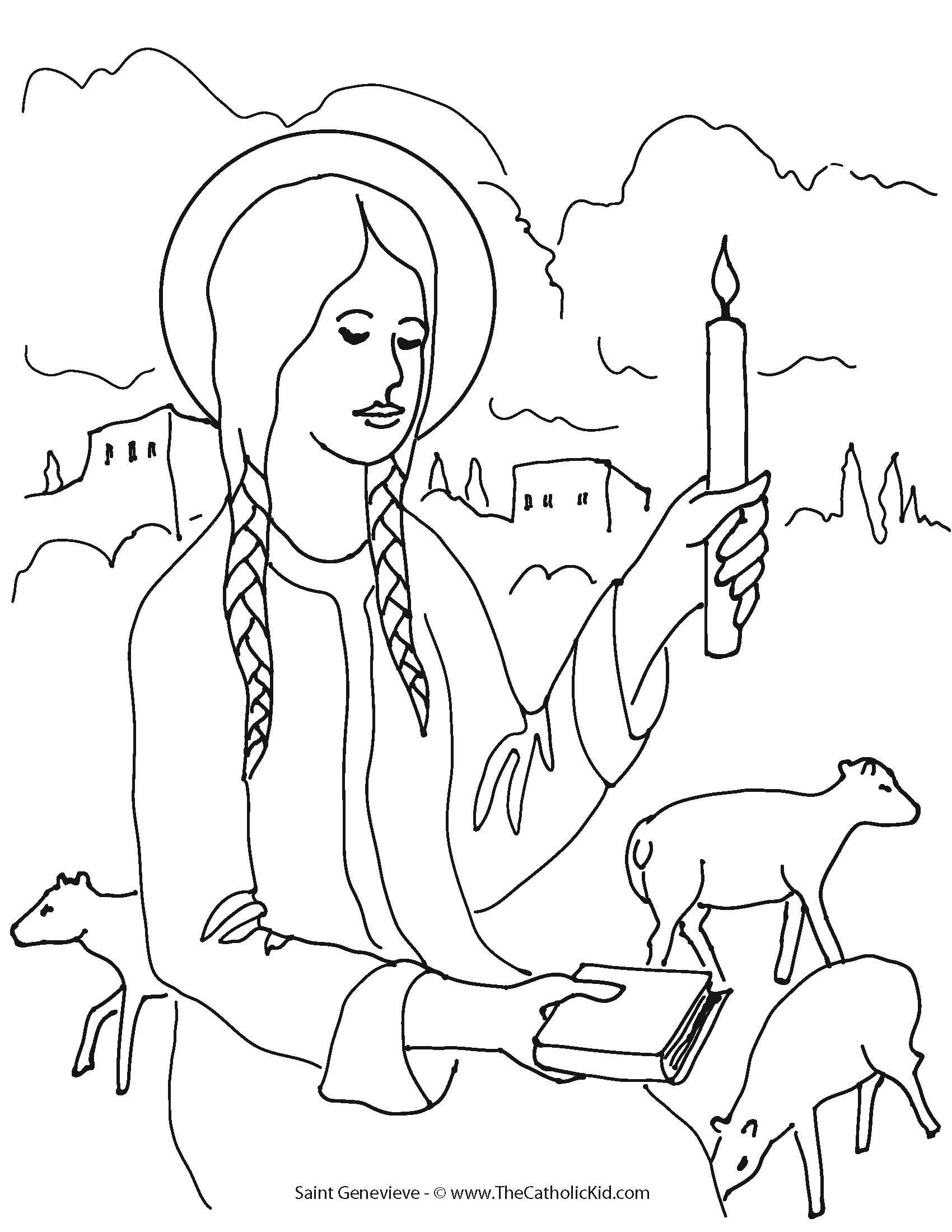 st genevieve our saint of the month thecatholickidcom st genevieve catholic kidscommunionsaintscoloring - St Patrick Coloring Page Catholic