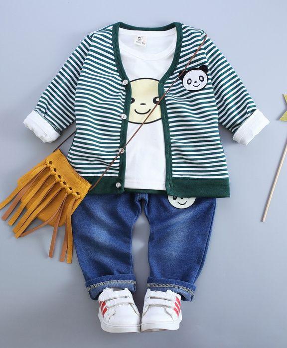 Long Sleeve Blue Stripe Baby Printed Vest