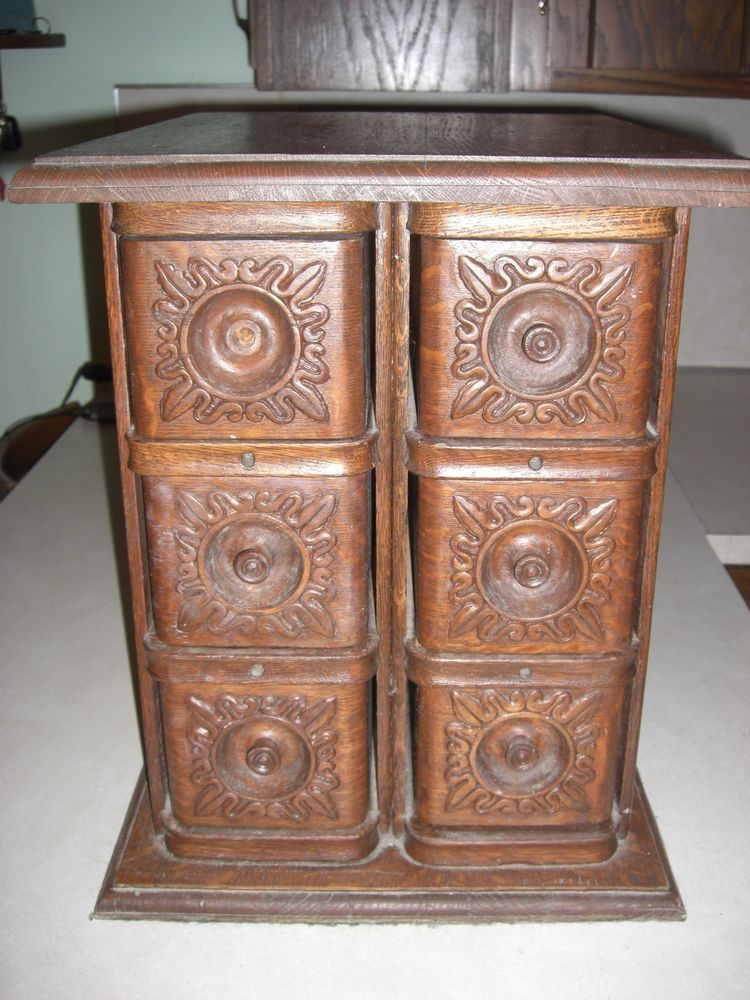 Nice Antique Oak Ornate Sewing Machine Drawer Cabinet End Knook Table Creation  #Victorian