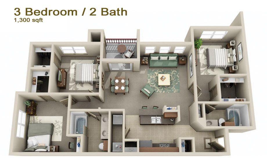 Image from http timbercreekapartmenthomes com images fp 3 · apartment layoutapartment plansapartment designbedroom apartmentapartment living3d house