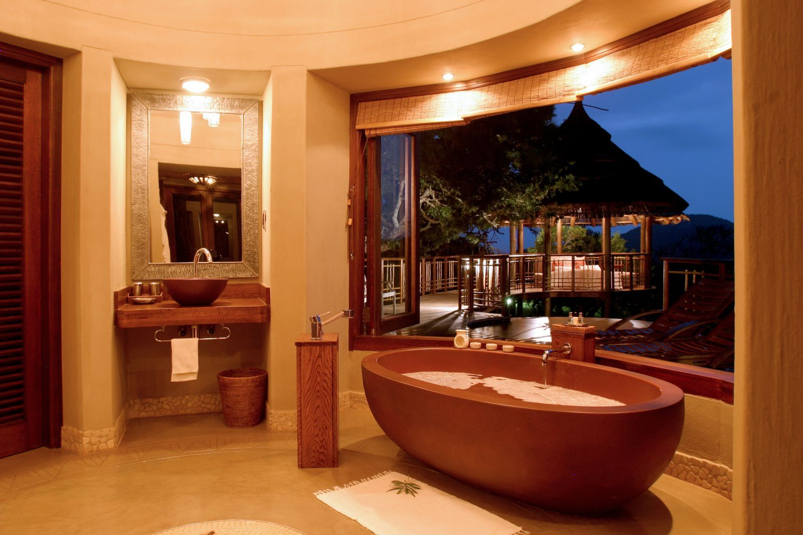 Earth Tones Bathroom | Exotic earth tone luxury bathroom design with ...