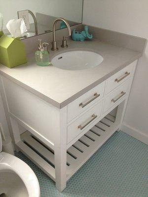 Caesarstone Haze With Round Undermount Sink Fitted For This Restoration  Hardware Vanity Cabinet.