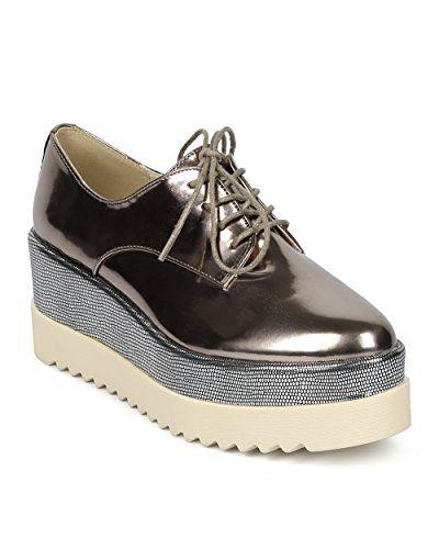 e0c7d70edcd0 Alrisco Women Double Stacked Spectator Creeper - Pointy Toe Oxford Platform  - Double Platform Metallic Dress Shoe - HC01 By DbDk Collection