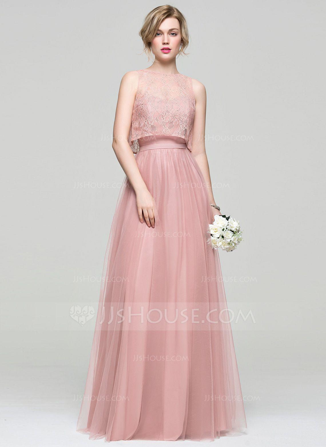 Lace wedding dress tulle november 2018 ALinePrincess Sweetheart FloorLength Tulle Bridesmaid Dress