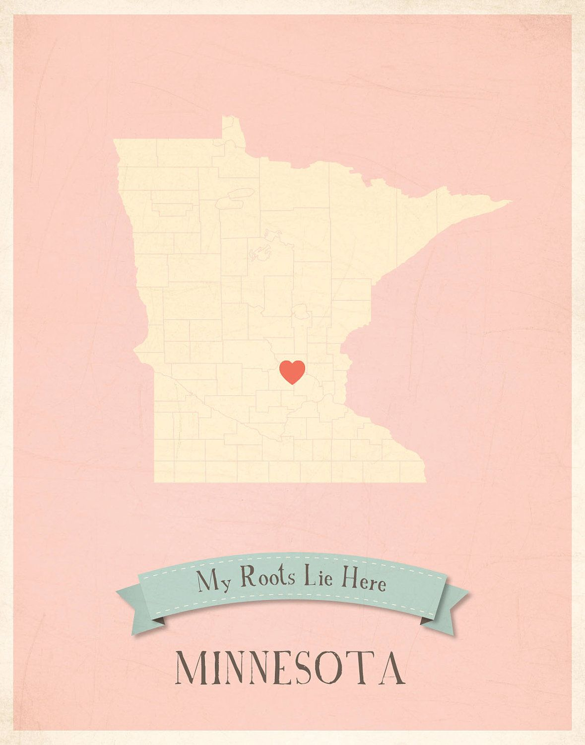 Minnesota Roots Map 11x14 Customized Print... With Cali of course :)