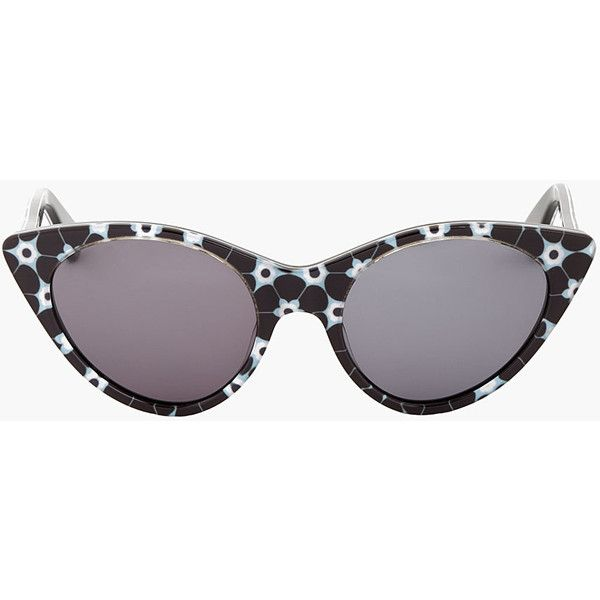 2a18e67c0a Opening Ceremony Black Floral Cat Eye Sunglasses (430 NOK) ❤ liked on Polyvore  featuring